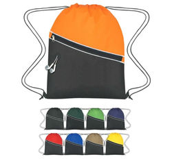 "Non-Woven Two-Tone Promo Drawstring Backpack - 13.5""w x 17.75""h"