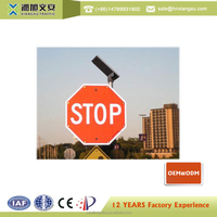 High quality High reflective led solar powered flashing road signs/solar flashing road signs