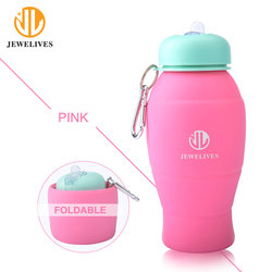 Custom Printing Logo Silicone Sports Drink Drinkware Foldable Bottle Bpa Free