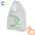Green Plastic T-shirt Shopping Bags (10x5 X18-13mic) - 500 Bags Biodegradable
