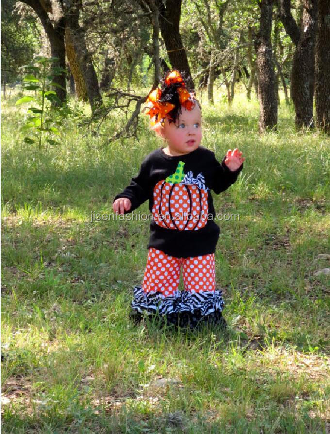 2016 Newest Boutique ChildrenThinksgiving festival pumpkin set Baby Girl Halloween Outfit