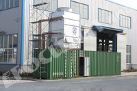 Industrial containerized water chiller for concrete cooling system.