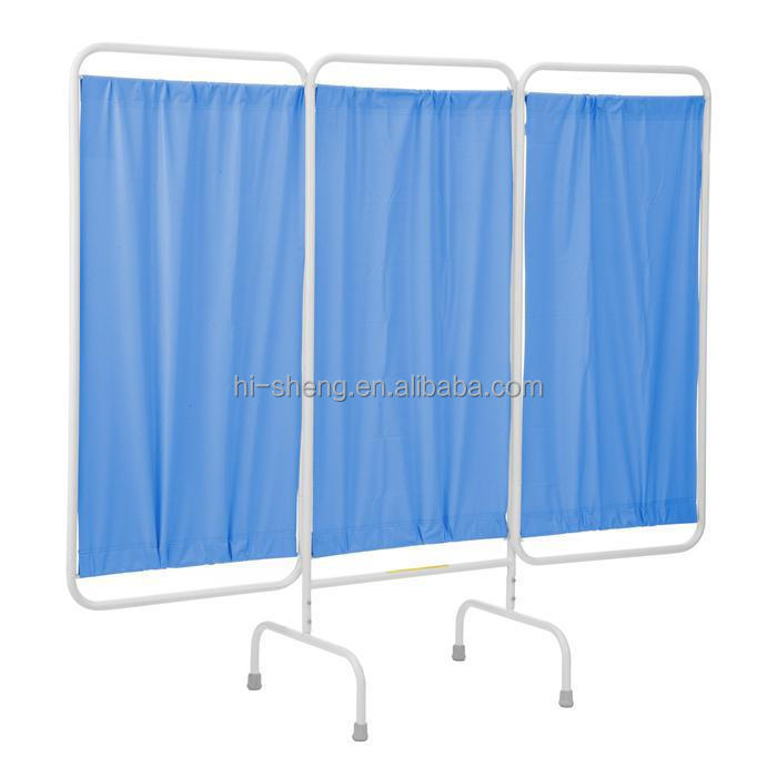 stainless steel frame 4-folding hospital privacy screens bedside screen curtains