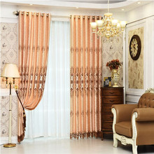 Fashion luxurious design jacquard blackout curtain with lace for window curtain