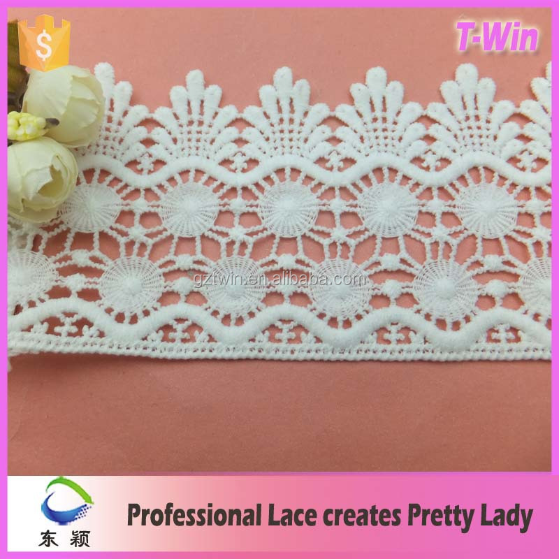 Widen 12cm milk silk crown cheap embroidery lace trim for appare ladies garment