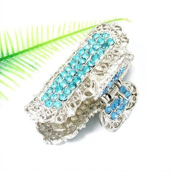 latest fashion gold plating hair accessory products blue rhinestone classic hair claw