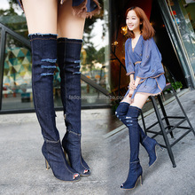 2018 Large size jean Jackboots high heels thin with peep-toe washing elastic boots SH087