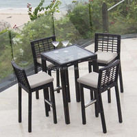 Aire open weave wicker terrace leisure furniture with modern high stool and glass top wine table bar set