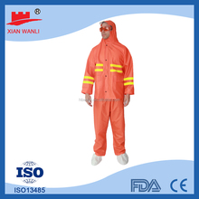 High quality Pvc polyester high visibility reflective safety rain suit with zipper and pockets CE Standard