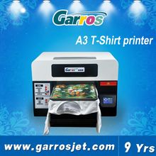Garros digital flatbed printing machine direct print on all color t-shirt fabric