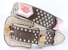 Western women rhinestone crystal ornament ladies pu leather studded rivet belts