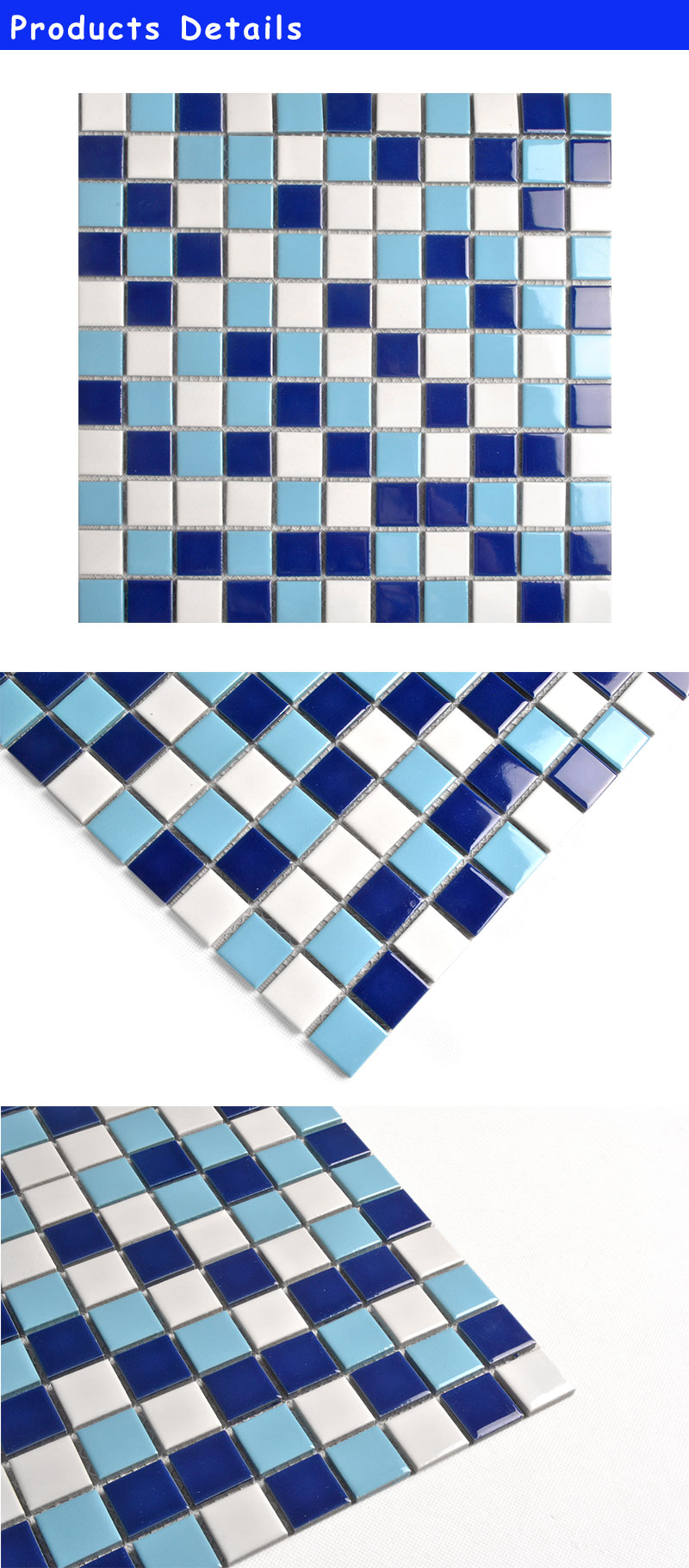 25X25 wholesale blue ceramic tile japan swimming pool tile