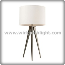 UL Listed Modern Lighting Factory Brushed Nickel Table Lamp Tripod Base With Round Drum Shade T80376