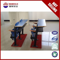 School Furniture classroom chair MDF double combo chair combo school chair with writing pad for university