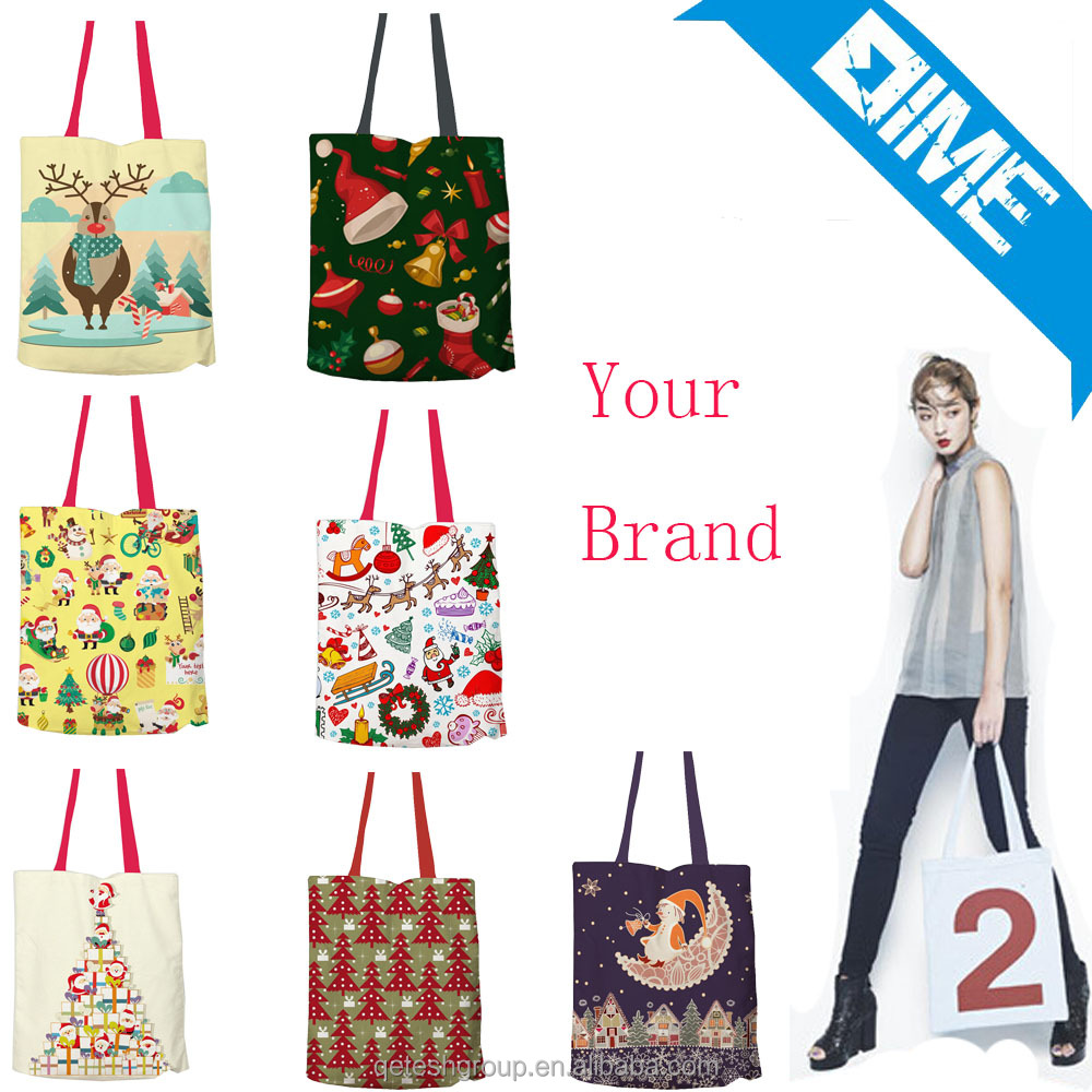 Customized Fashion Design Christmas Cotton Canvas Tote Bag Shopping Bag