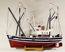 Wooden fishing boat model, 41x13x36cm, Red/Black, Replic Fishing ship vessel model with flags, nautical table decor