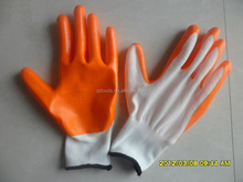 13g smooth nitrile palm coated glove,smooth surface nitrile working gloves,orange rubber working gloves
