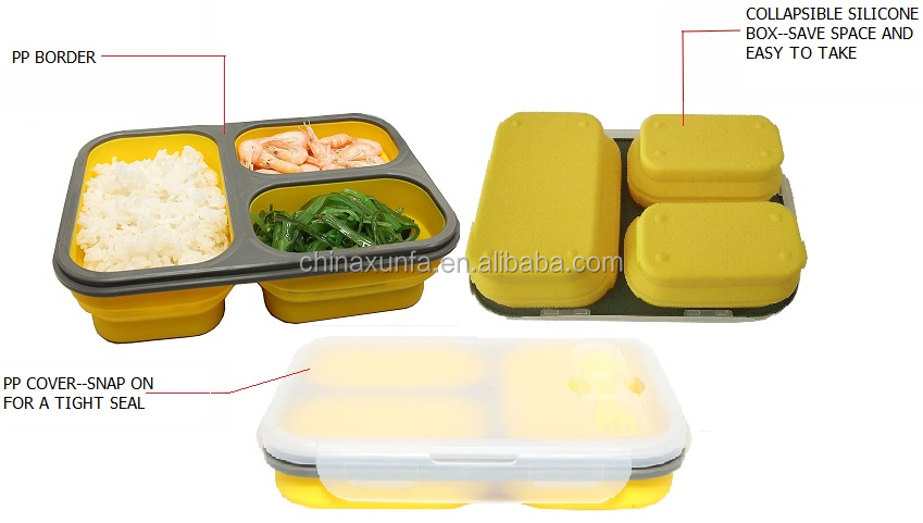 High quality microwaveable portable silicone lock hot food lunch box foldable hot selling food container