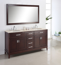 Transitional Double Bowls Oak Wood Freestanding Bathroom Furniture