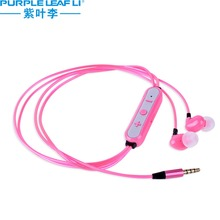 EL wire glowing earphones flashing in-ear sport headset with remote control and mic for hands-free