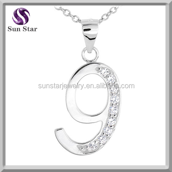 925 Sterling Silver White Cubic Zirconia Lucky Number Nine 9 Pendant