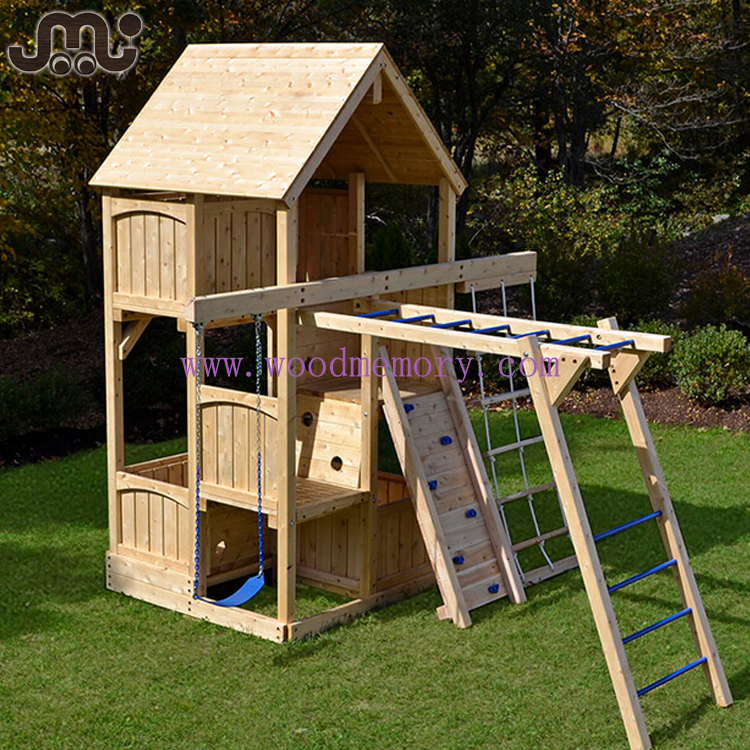 Chamfered natural unfinished outdoor wooden playset