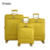 Bright yellow 3 pieces 4 wheel 20 24 28 inch nylon trolley luggage bag cases