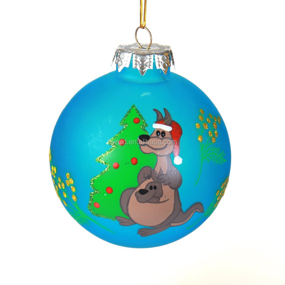 wholesale clear glass christmas ball ornaments with kangaroo