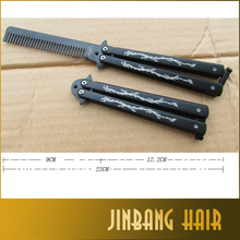 Stylish Outdoors Practice Butterfly Comb with Double Dragon Design Folding Thrown Knife for Practice Training Comb