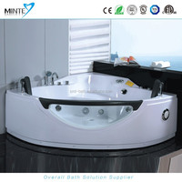 corner style 2 person massage whirlpool bathtub with seat