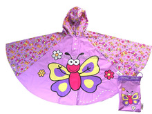 Butterfly Pattern Cute Hooded Waterproof Rain Kids Poncho