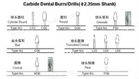 Carbide Dental Burrs/Drills 2.35mm shank