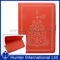 Red Color Printed Star Tree Tablet Case For iPad 4