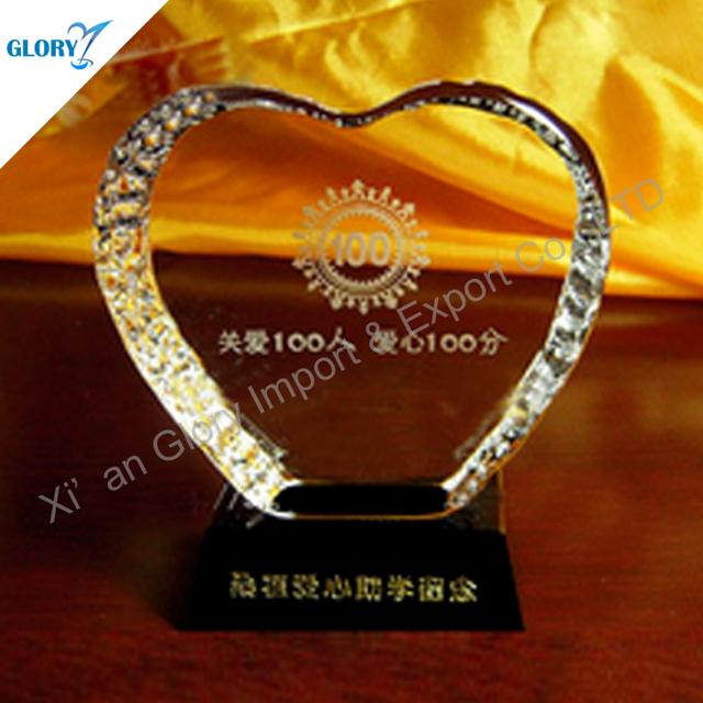 Wholesale Custom Crystal Heart Shaped Trophies