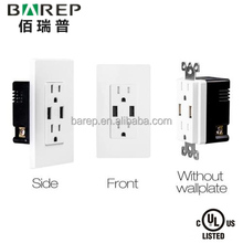 American US CANADA USB wall socket 2 gang electrical outlet with 2 USB ports