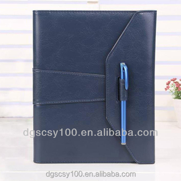Factory PU cover 2018 hot agenda with pen and clasp