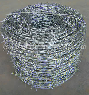 YS brand 2 barb 4 point high tensile steel barbed wire 12.5 ga. 15.5 gauge galvanized barbed wire coated safety fence
