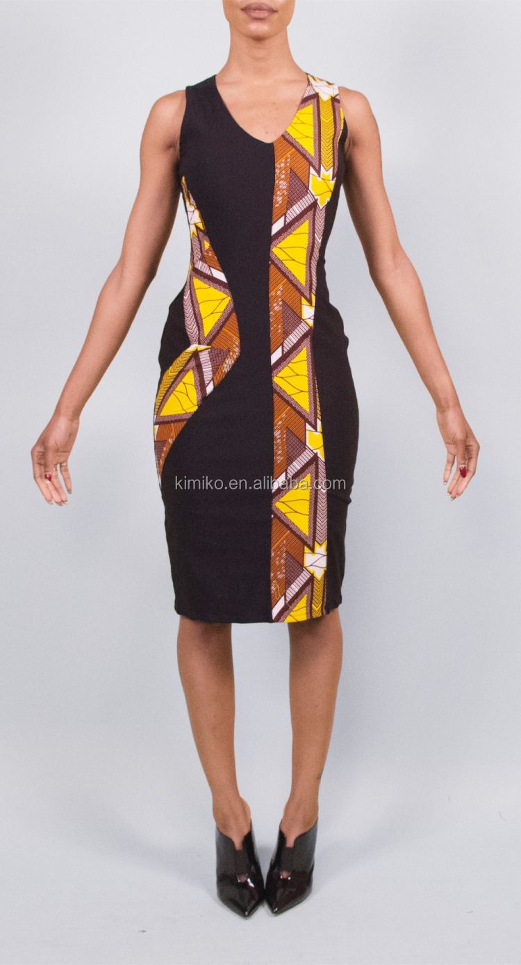 New Arrive Fashion Design Mixed Fabric African Sleeveless Pencil Dress For Women