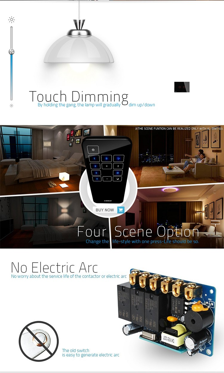 Livolo VL-C302DR-82 Luxury Crystal Glass Screen Wireless Dimmer and RF Remote Control Touch Wall Light Switch