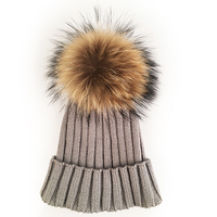Myfur 2016 Winter Fur Pompon Hats Knitting Wool Hat Female High Quality Knitted Hat With Ball