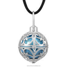 Silver Plated Floating Locket Cage Antique Flowers Bola Mexican Music Ball