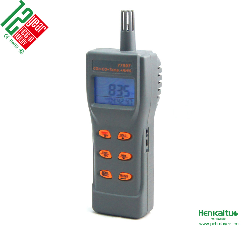 Handheld Carbon Dioxide Detector LCD USB Output Alarm 6 in 1 Digital CO2 /CO/Temp/Humidity/DP/WB Indoor Air Quality Detector