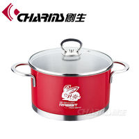 color enamel cookware cooking pot with metal lid