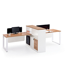 Low Price Office Acrylic Wall Partition 2 Seat Wooden Workstation