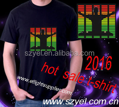 customized design el equalizer sound activated flashing t-shirt