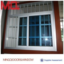 Aluminium sliding glass window with security grill design