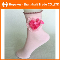 Pretty girl pink heart-shaped petals sewing socks,Children's happy socks