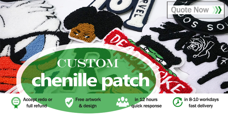 Custom fashion design chenille patch for gift souvenir with logo