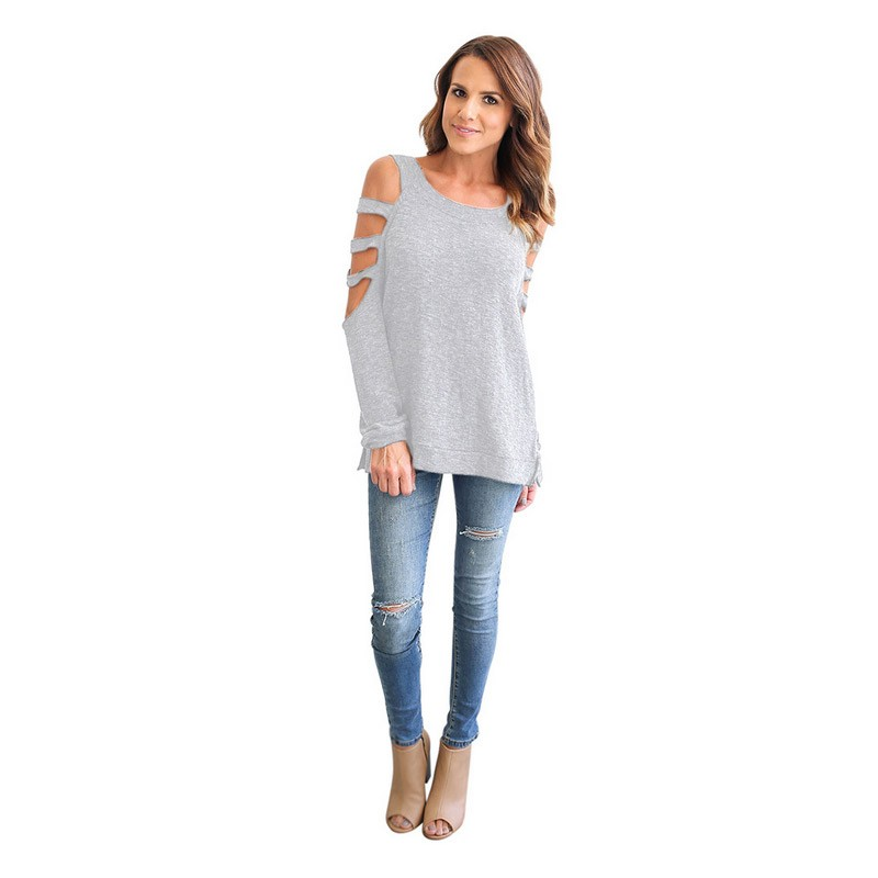New Fashion Ladies Long Sleeve Hole Women Irregular Club T Shirt