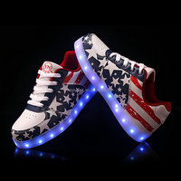 Top seller design flag pattern glowing led shoes for women